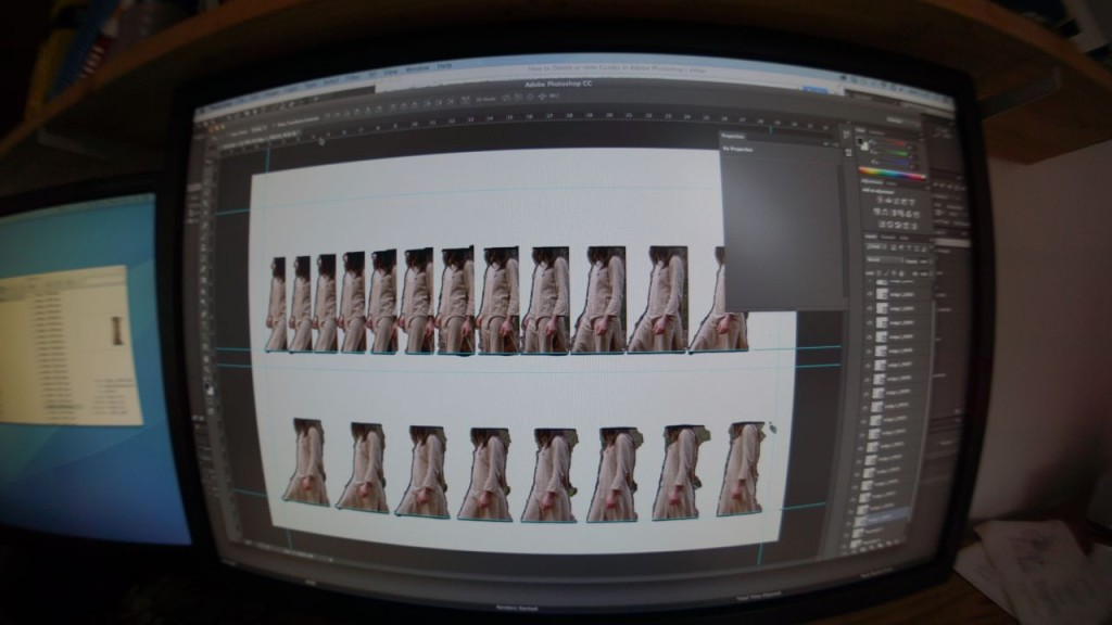Here you can see lots of little dancers getting lined up in Photoshop ready for printing.